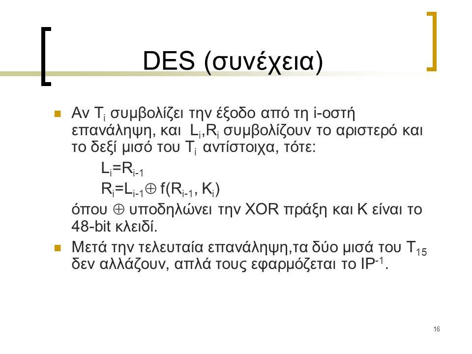 DES (συνέχεια) Αν Ti συμβολίζει την έξοδο από τη i-οστή επανάληψη, και Li,Ri συμβολίζουν το αριστερό και το δεξί μισό του Ti αντίστοιχα, τότε: