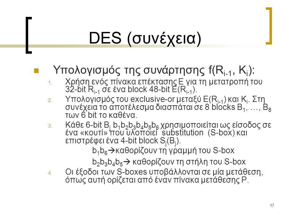 DES (συνέχεια) Υπολογισμός της συνάρτησης f(Ri-1, Ki):