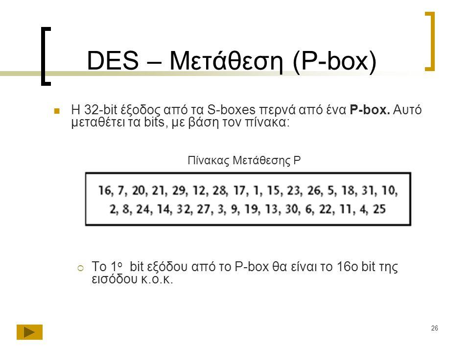DES – Μετάθεση (P-box) Η 32-bit έξοδος από τα S-boxes περνά από ένα P-box. Αυτό μεταθέτει τα bits, με βάση τον πίνακα:
