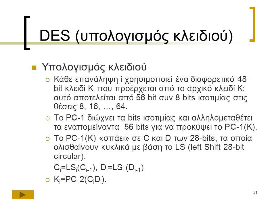 DES (υπολογισμός κλειδιού)