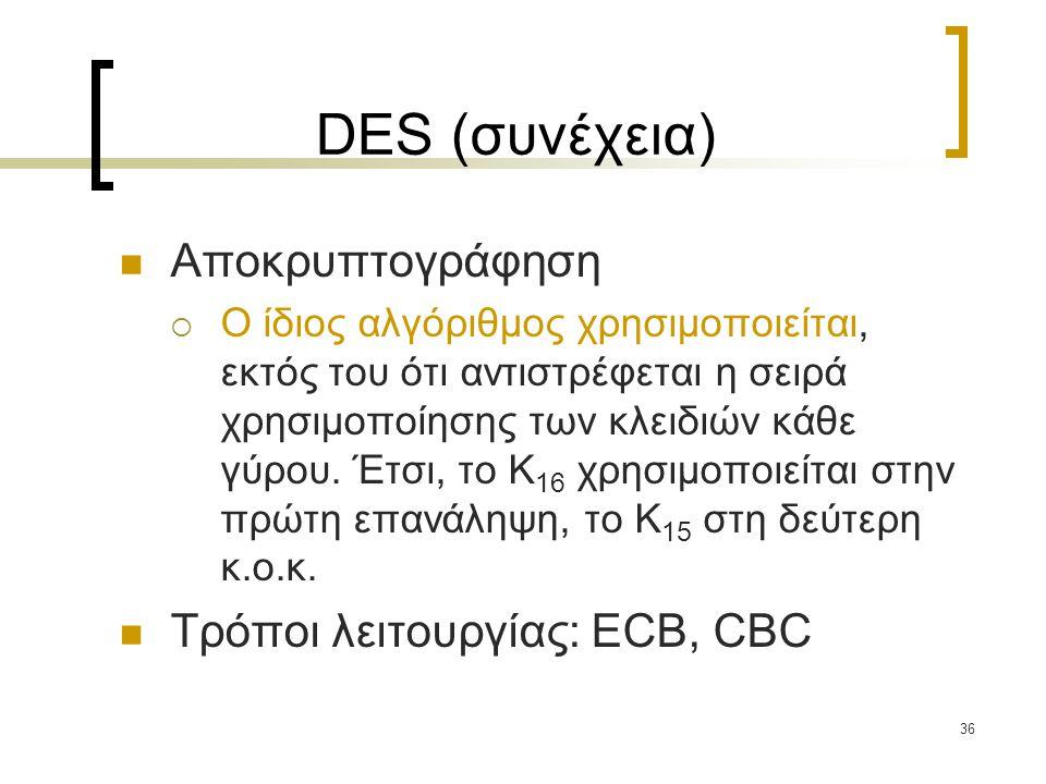 DES (συνέχεια) Αποκρυπτογράφηση Τρόποι λειτουργίας: ECB, CBC