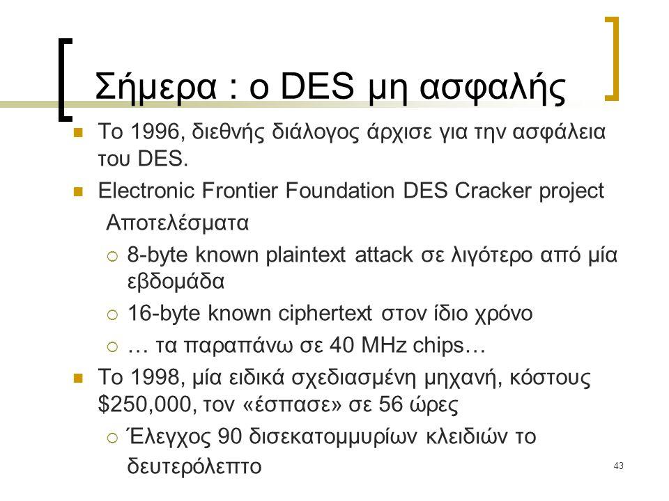 Σήμερα : ο DES μη ασφαλής