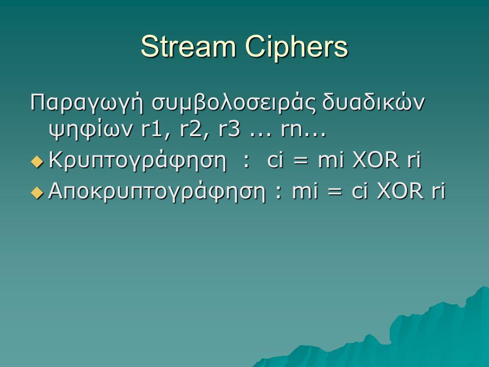 Stream Ciphers Παραγωγή συμβολοσειράς δυαδικών ψηφίων r1, r2, r3 ... rn... Κρυπτογράφηση : ci = mi XOR ri.