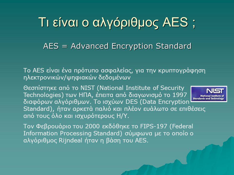 Τι είναι ο αλγόριθμος AES ;