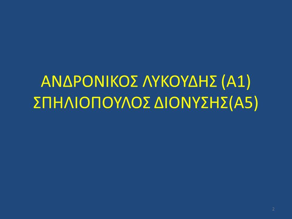 ΑΝΔΡΟΝΙΚΟΣ ΛΥΚΟΥΔΗΣ (Α1) ΣΠΗΛΙΟΠΟΥΛΟΣ ΔΙΟΝΥΣΗΣ(Α5)