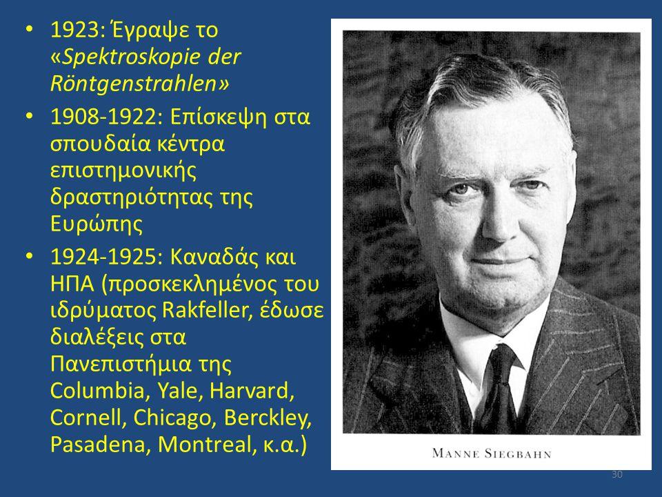 1923: Έγραψε το «Spektroskopie der Röntgenstrahlen»