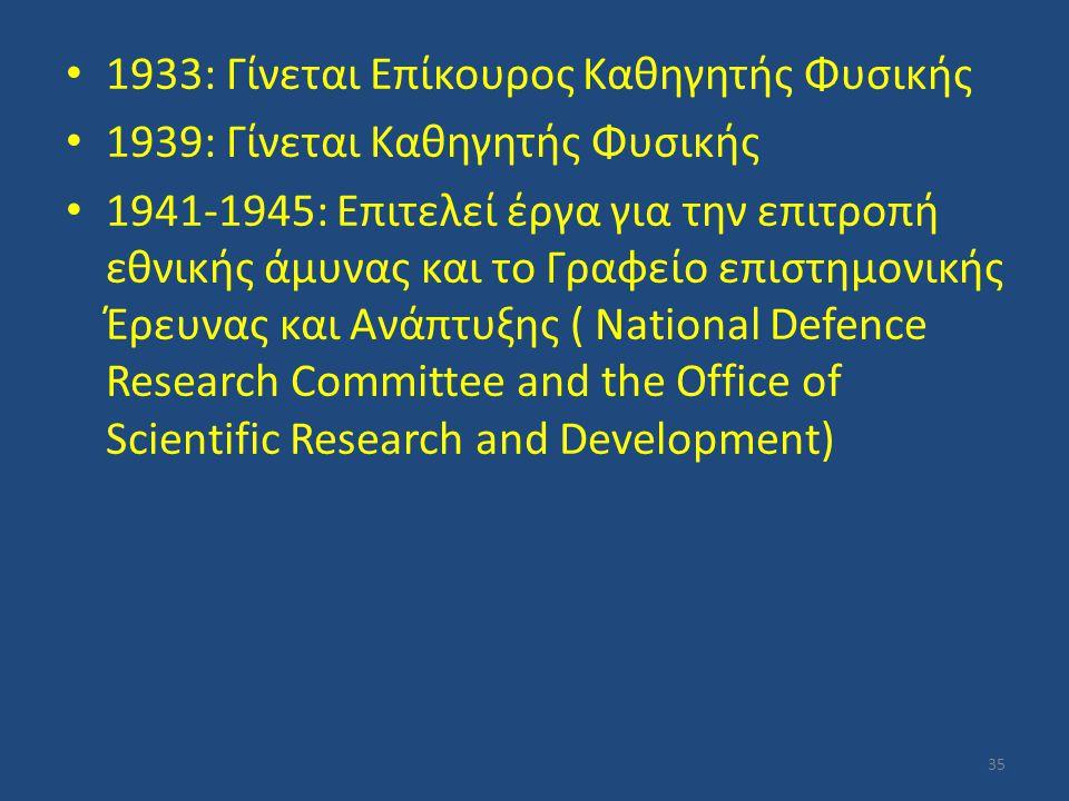 1933: Γίνεται Επίκουρος Καθηγητής Φυσικής