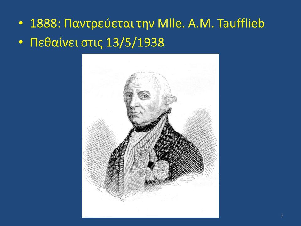 1888: Παντρεύεται την Mlle. A.M. Taufflieb
