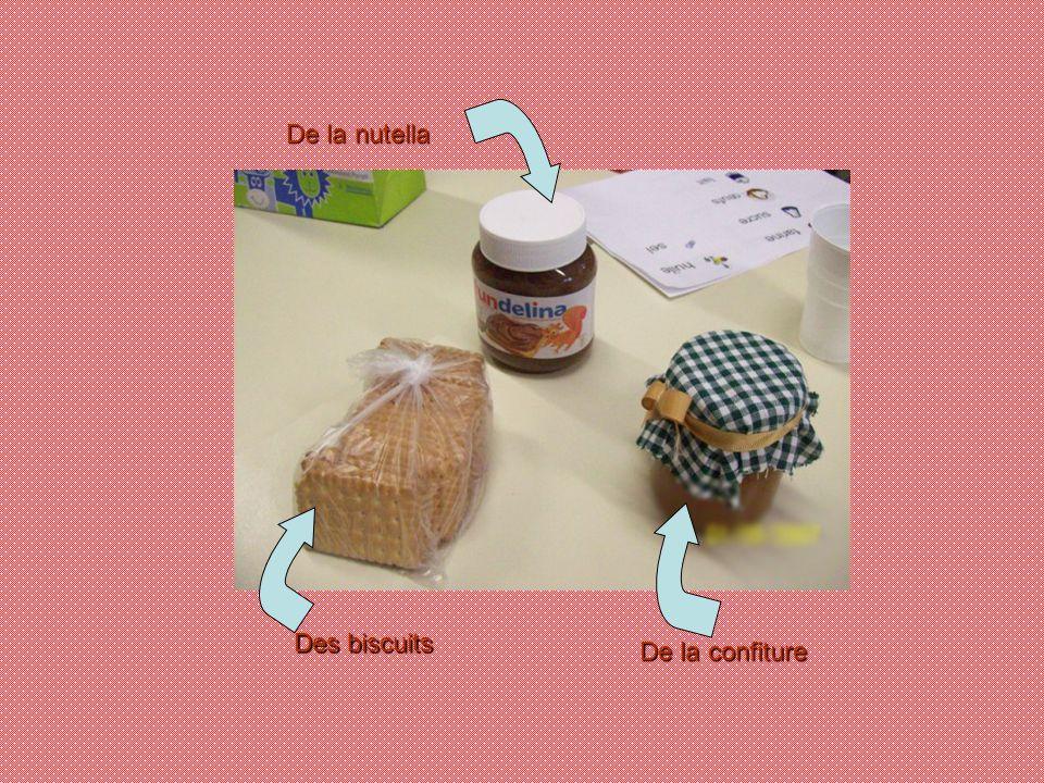 De la nutella Des biscuits De la confiture