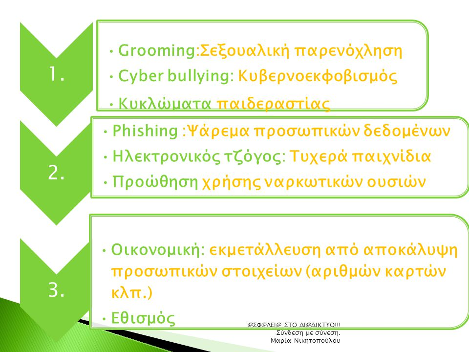 Grooming:Σεξουαλική παρενόχληση Cyber bullying: Κυβερνοεκφοβισμός