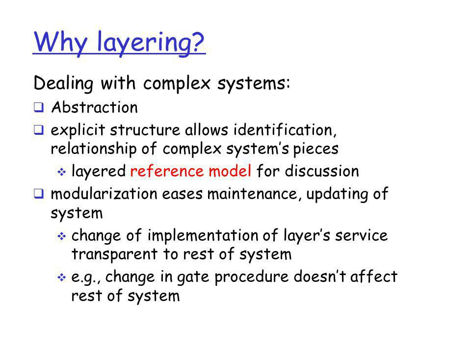 Why layering Dealing with complex systems: Abstraction
