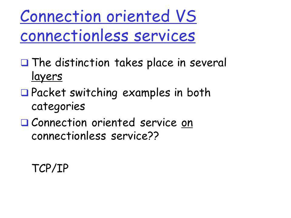 Connection oriented VS connectionless services