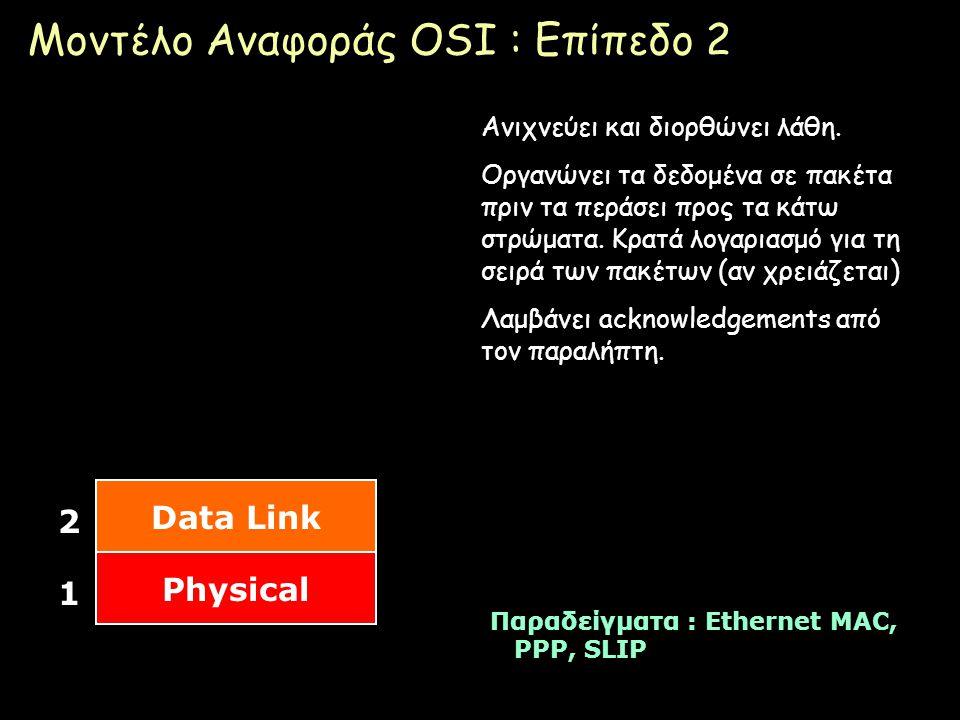 Μοντέλο Αναφοράς OSI : Επίπεδο 2