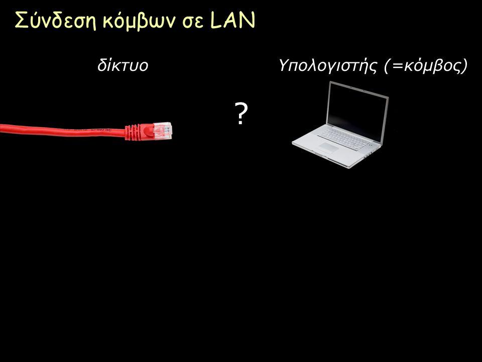 Σύνδεση κόμβων σε LAN δίκτυο Υπολογιστής (=κόμβος)