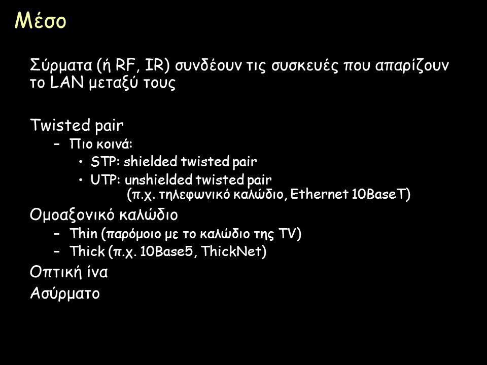 Μέσο Σύρματα (ή RF, IR) συνδέουν τις συσκευές που απαρίζουν το LAN μεταξύ τους. Twisted pair. Πιο κοινά: