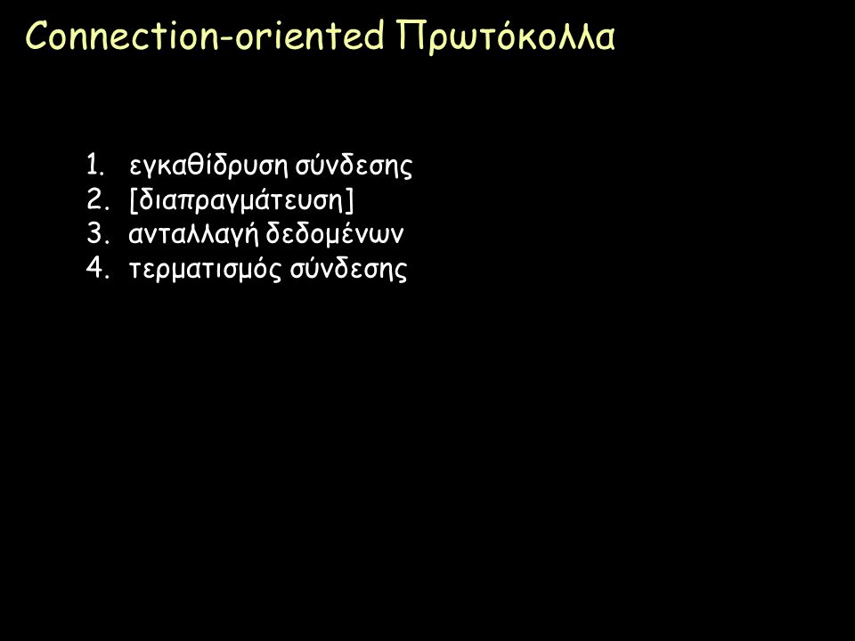 Connection-oriented Πρωτόκολλα