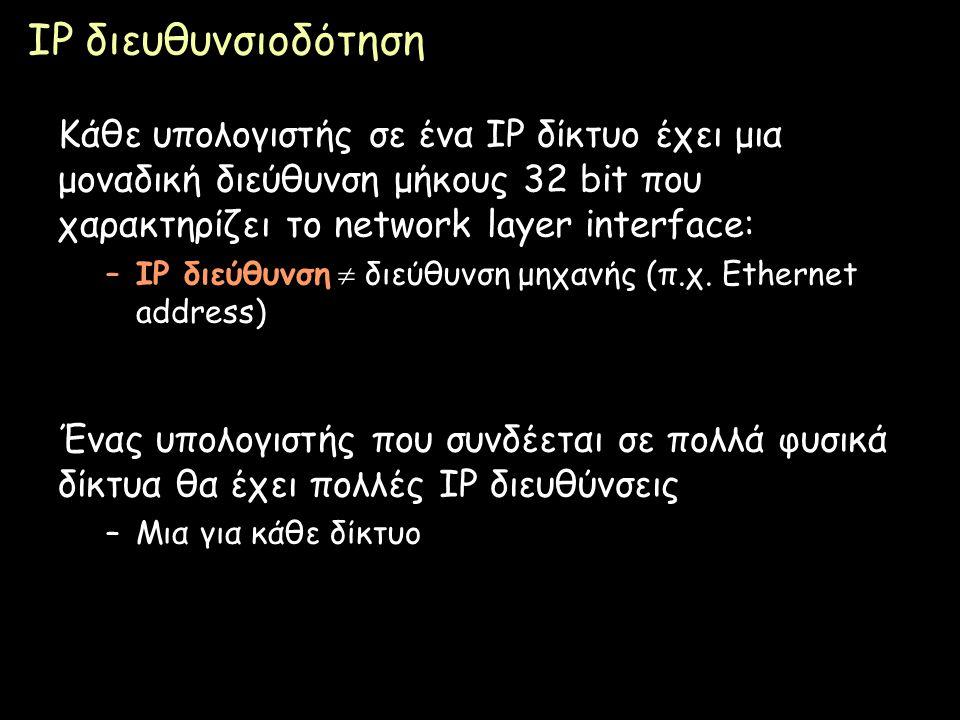 IP διευθυνσιοδότηση Κάθε υπολογιστής σε ένα IP δίκτυο έχει μια μοναδική διεύθυνση μήκους 32 bit που χαρακτηρίζει το network layer interface: