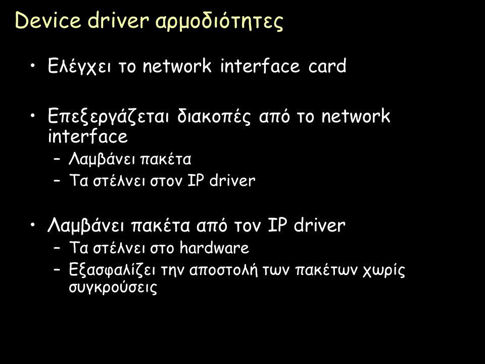 Device driver αρμοδιότητες