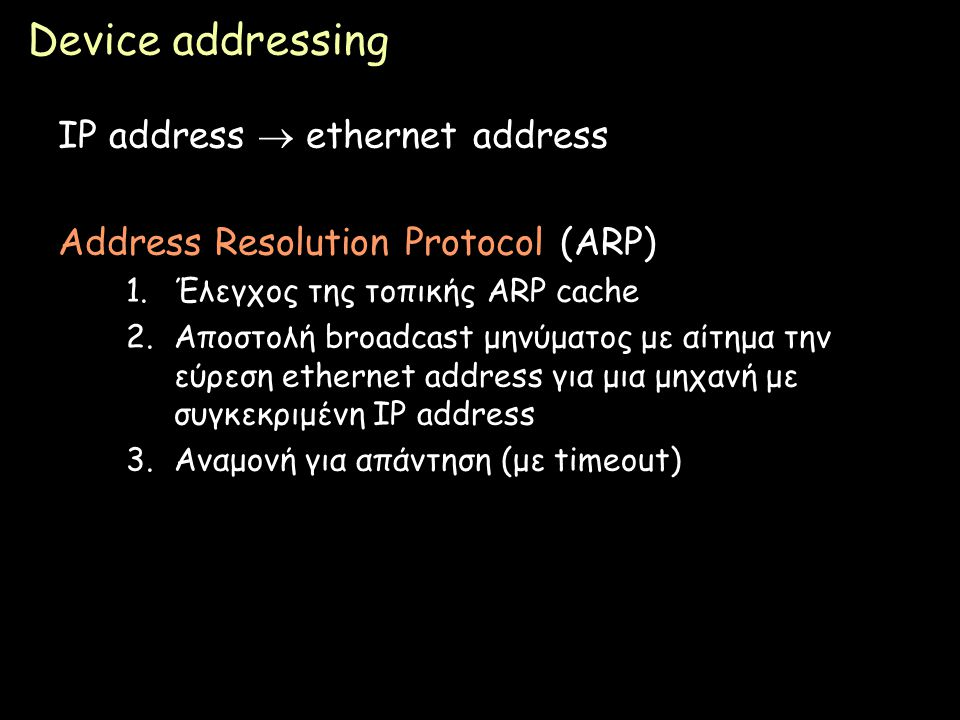 Device addressing IP address  ethernet address
