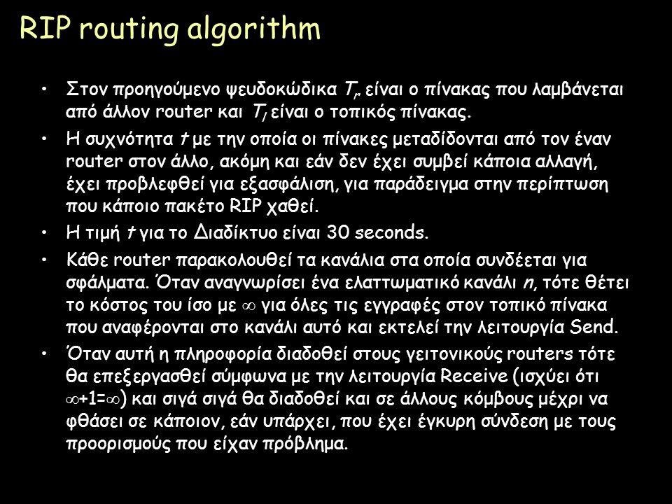 RIP routing algorithm Στον προηγούμενο ψευδοκώδικα Tr είναι ο πίνακας που λαμβάνεται από άλλον router και Τl είναι ο τοπικός πίνακας.