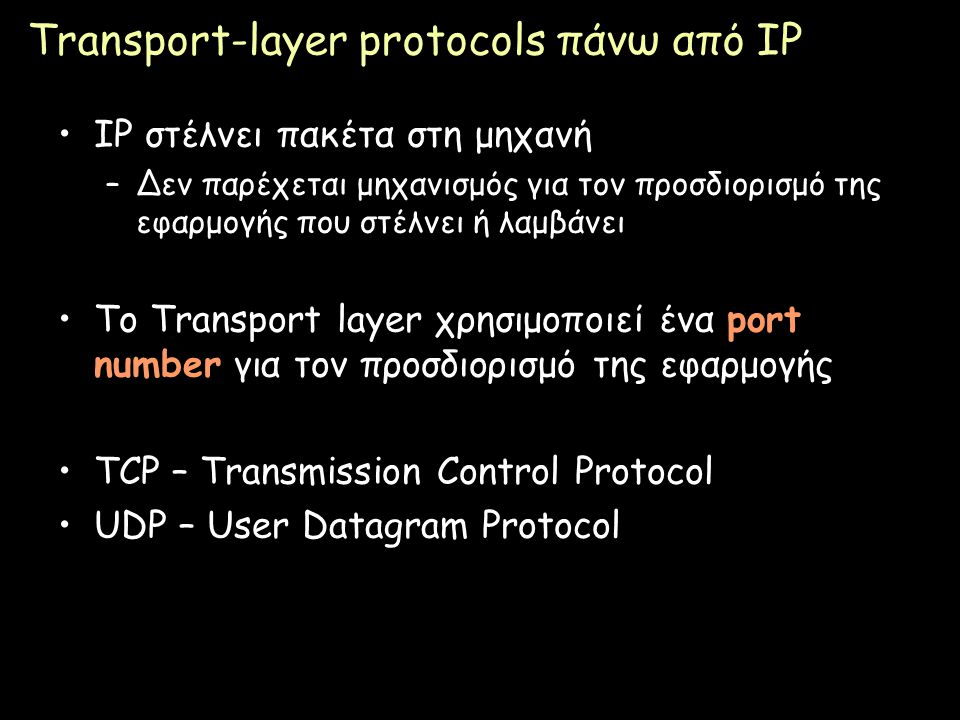 Transport-layer protocols πάνω από IP