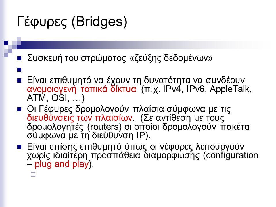 Γέφυρες (Bridges) Συσκευή του στρώματος «ζεύξης δεδομένων»