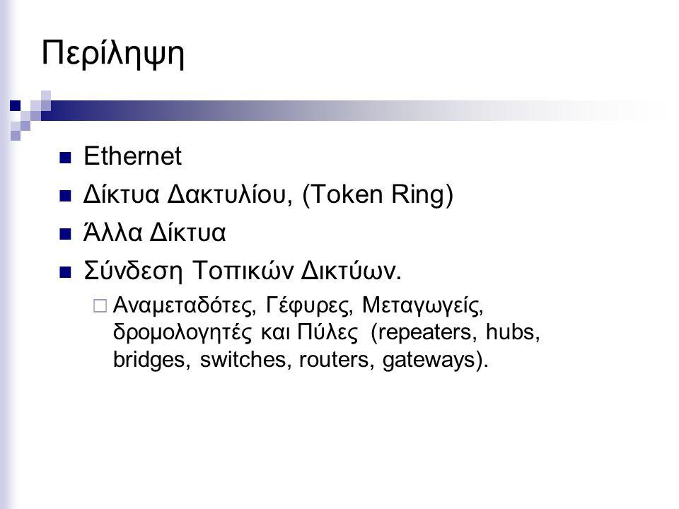 Περίληψη Ethernet Δίκτυα Δακτυλίου, (Token Ring) Άλλα Δίκτυα