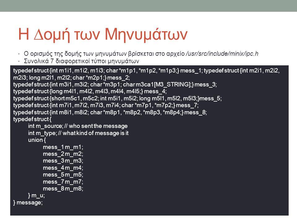 Η ∆ομή των Μηνυμάτων Ο ορισμός της δομής των μηνυμάτων βρίσκεται στο αρχείο /usr/src/include/minix/ipc.h.