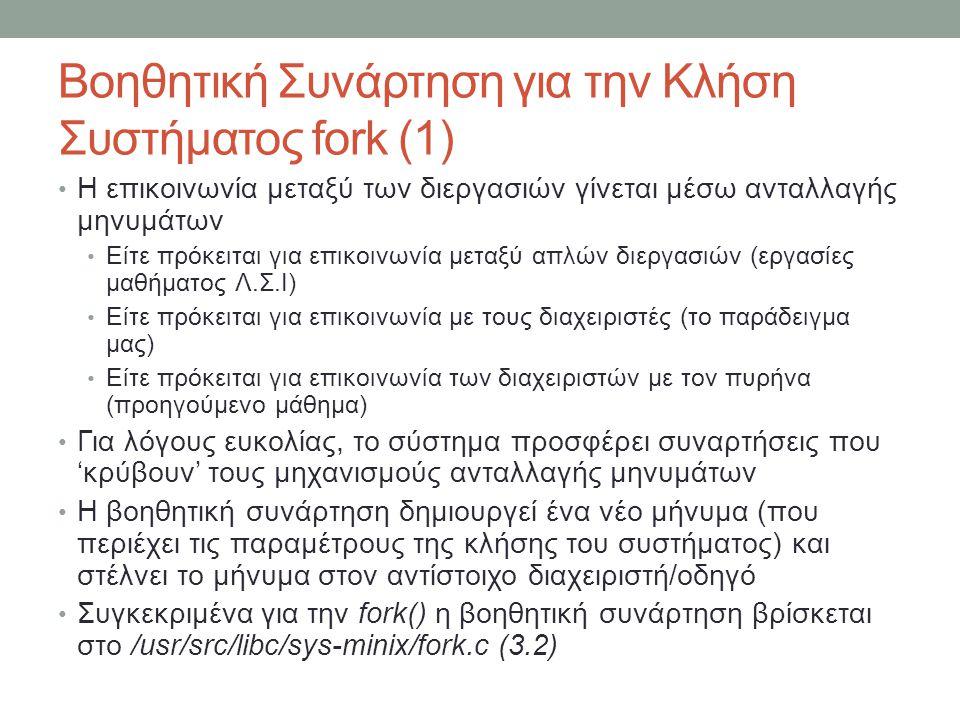 Βοηθητική Συνάρτηση για την Κλήση Συστήματος fork (1)