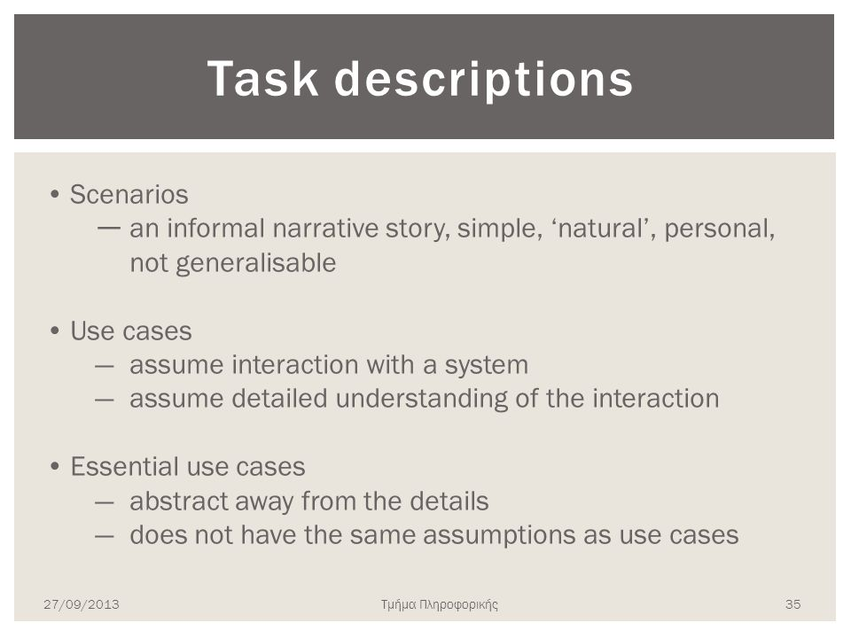 Task descriptions Scenarios
