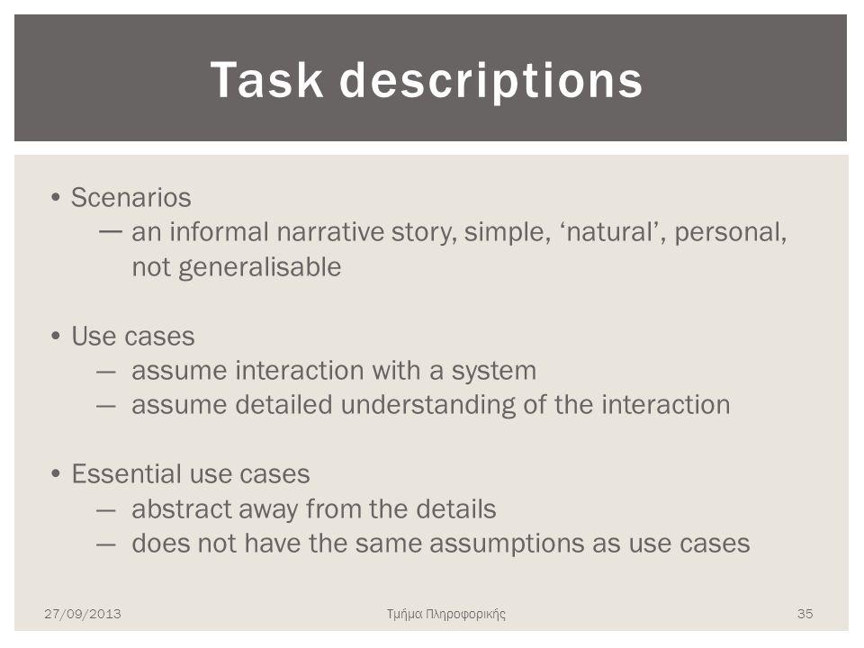Task descriptions Scenarios