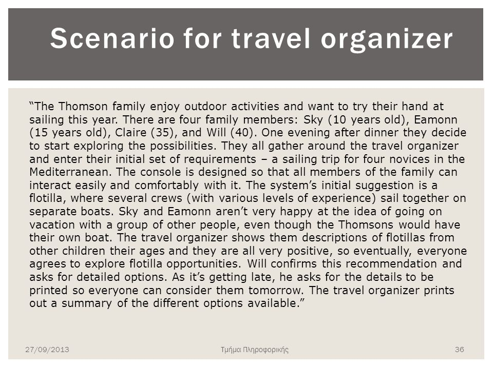 Scenario for travel organizer