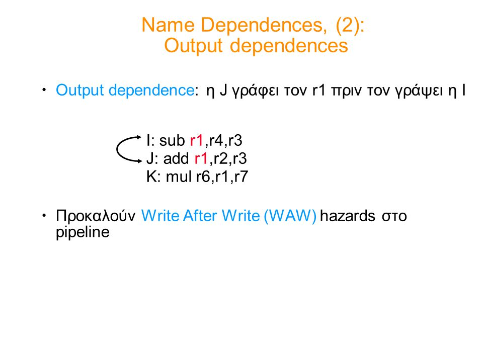 Name Dependences, (2): Output dependences