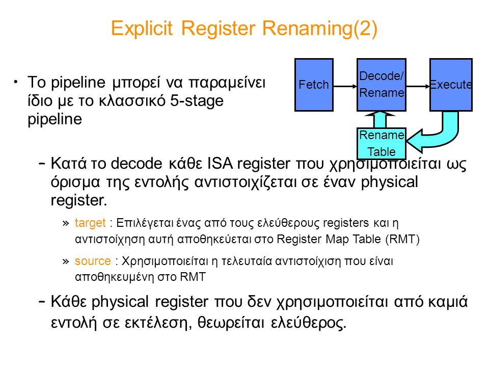Explicit Register Renaming(2)