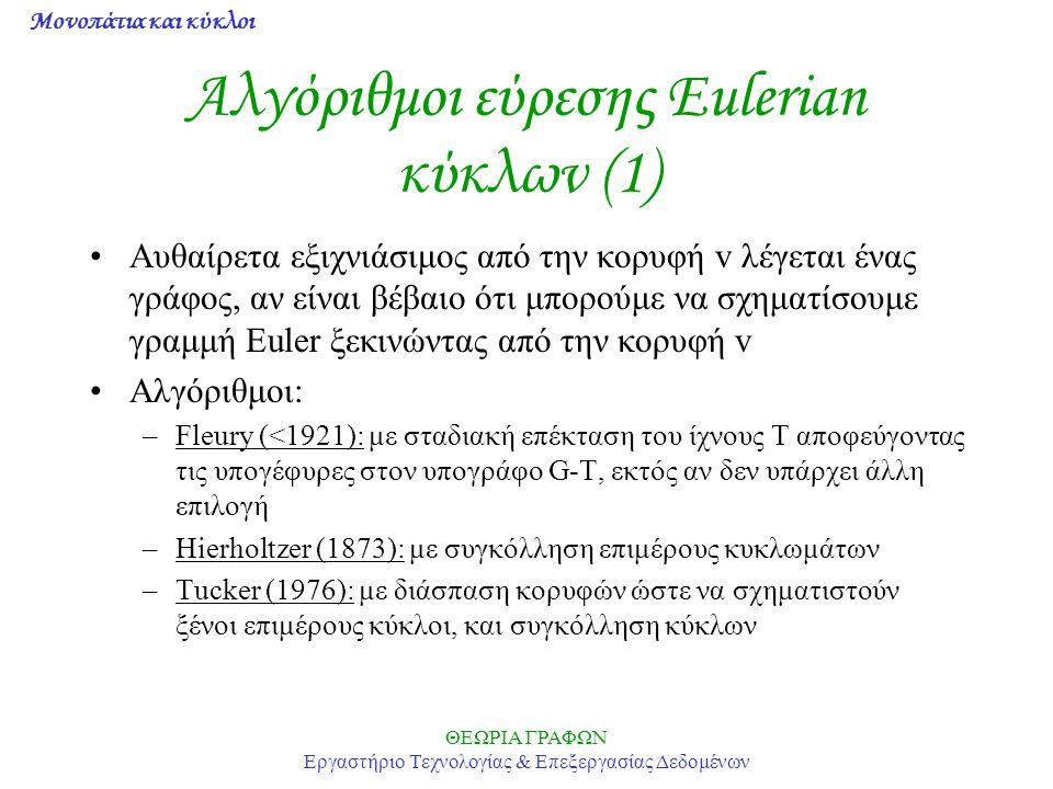 Αλγόριθμοι εύρεσης Eulerian κύκλων (1)
