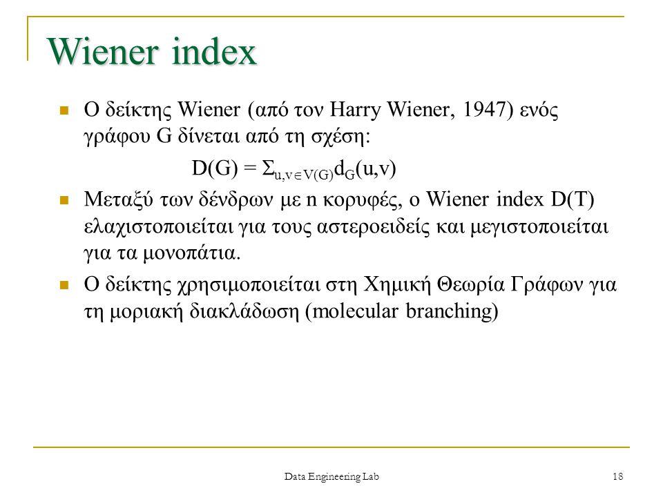 Wiener index O δείκτης Wiener (από τον Harry Wiener, 1947) ενός γράφου G δίνεται από τη σχέση: D(G) = u,vV(G)dG(u,v)