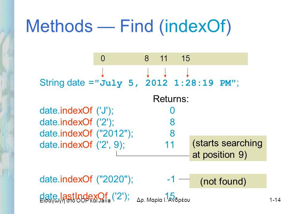 Methods — Find (indexOf)