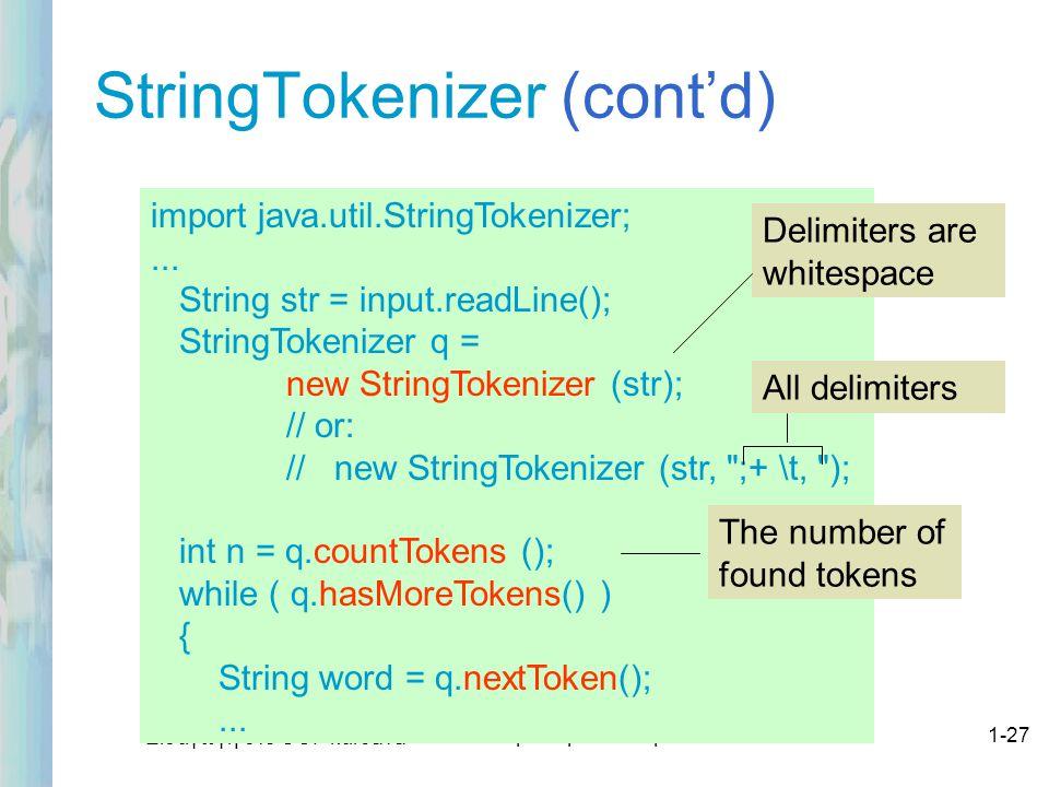 StringTokenizer (cont'd)