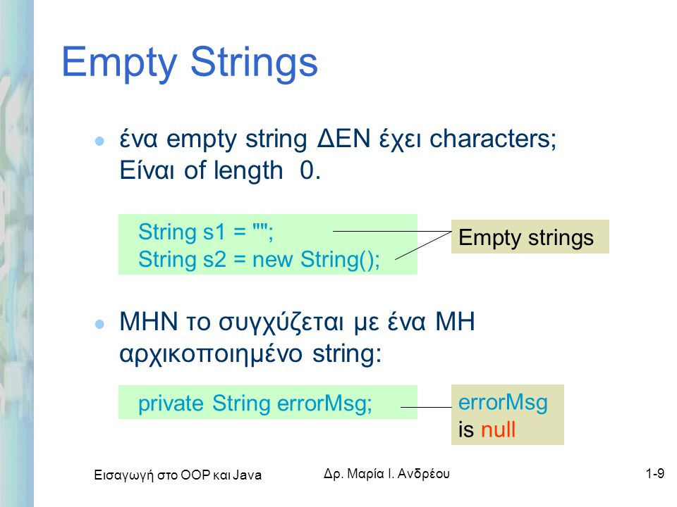 Empty Strings ένα empty string ΔΕΝ έχει characters; Είναι of length 0.
