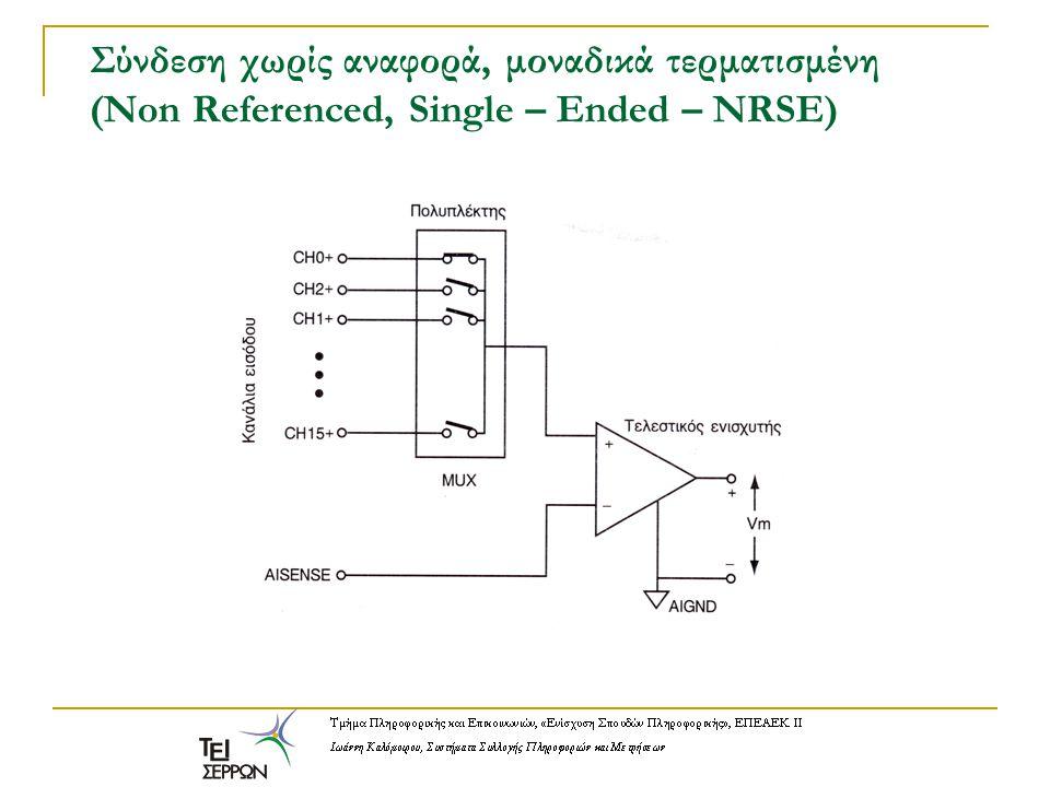 Σύνδεση χωρίς αναφορά, μοναδικά τερματισμένη (Non Referenced, Single – Ended – NRSE)