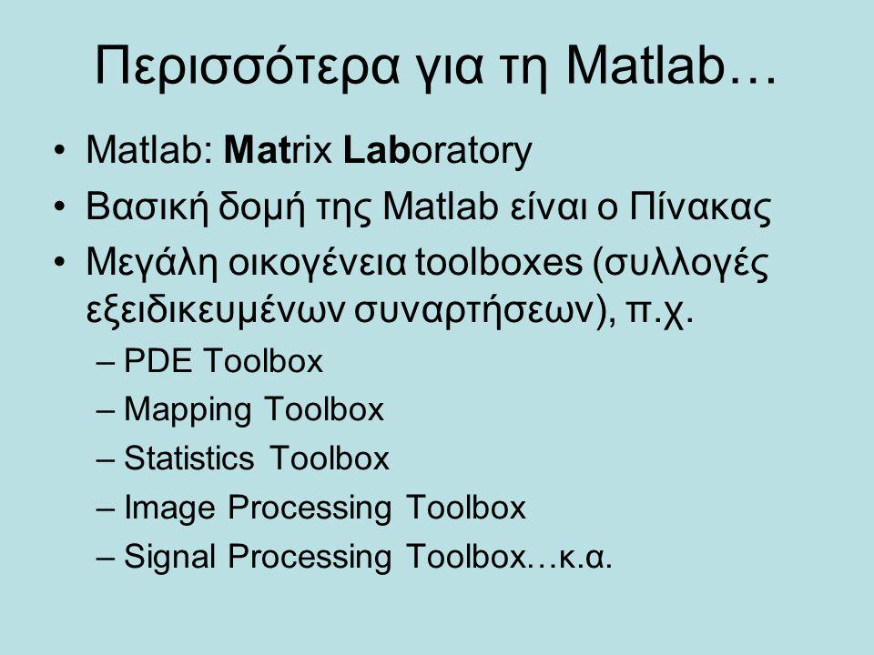 Περισσότερα για τη Matlab…