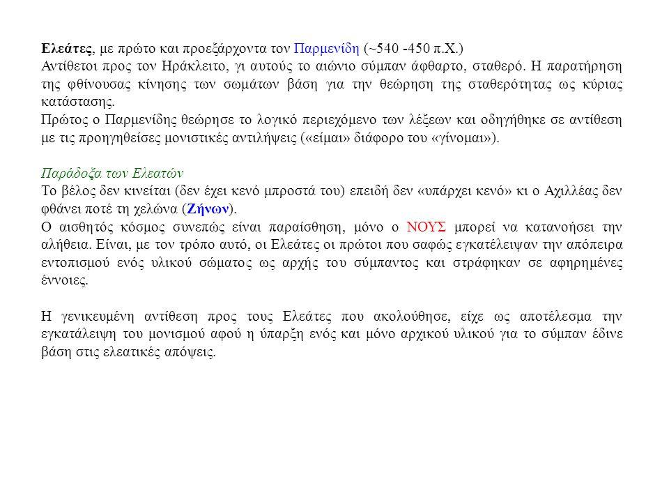 Ελεάτες, με πρώτο και προεξάρχοντα τον Παρμενίδη (~540 -450 π.Χ.)