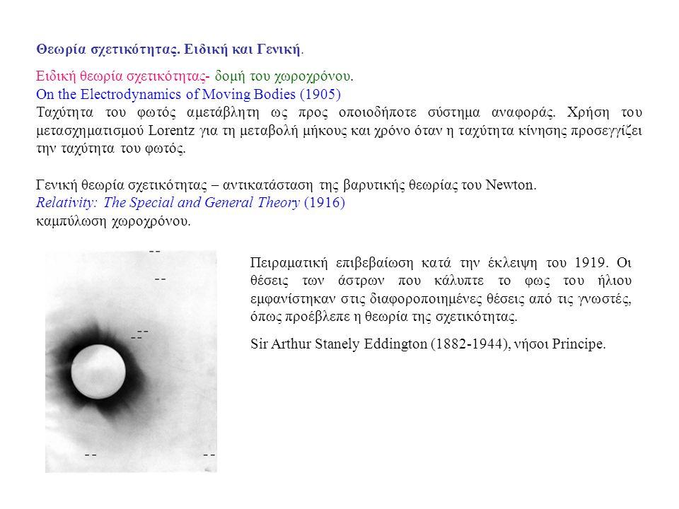 Θεωρία σχετικότητας. Ειδική και Γενική.