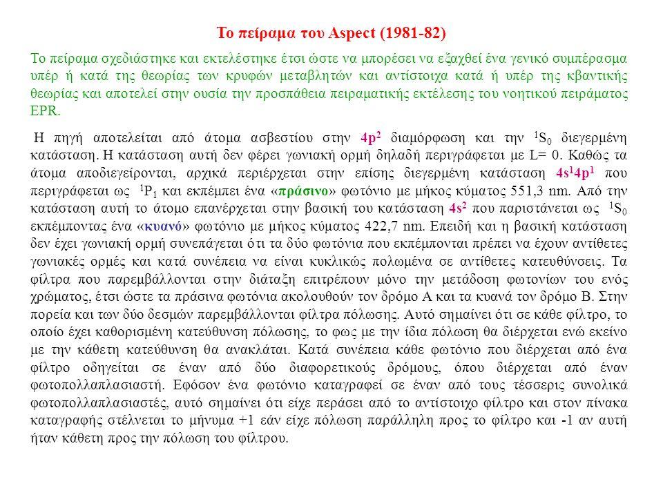Το πείραμα του Aspect (1981-82)