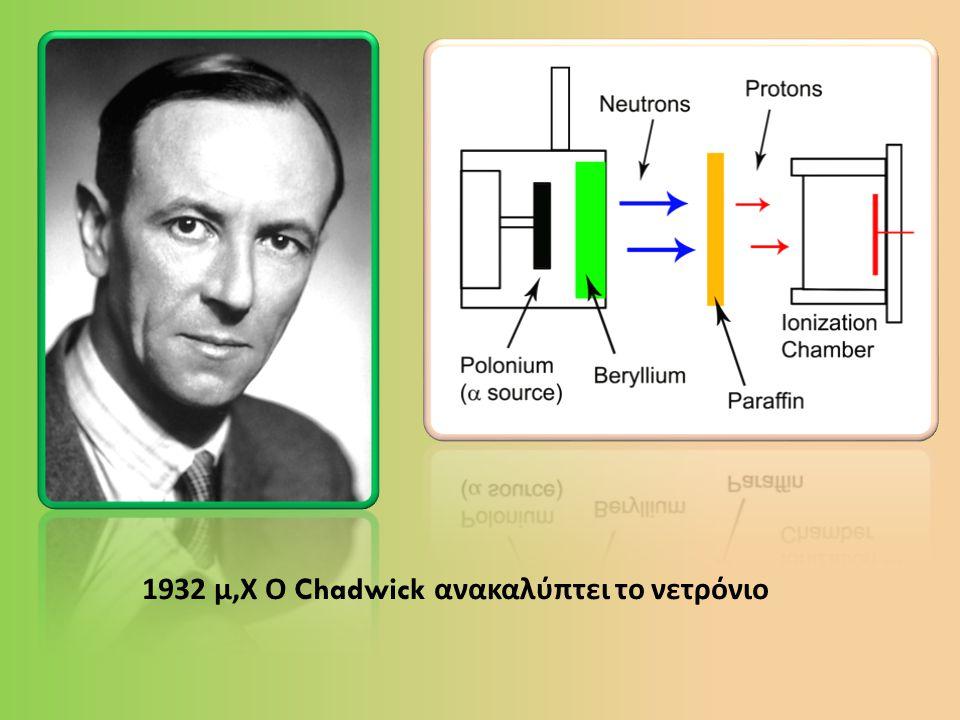 1932 μ,Χ Ο Chadwick ανακαλύπτει το νετρόνιο