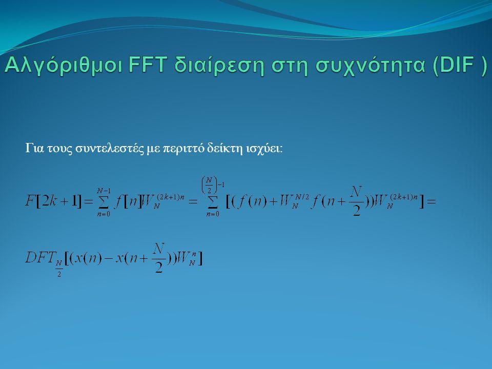 Αλγόριθμοι FFT διαίρεση στη συχνότητα (DIF )