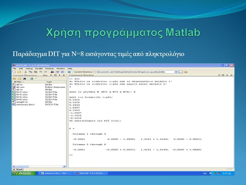 Χρήση προγράμματος Matlab