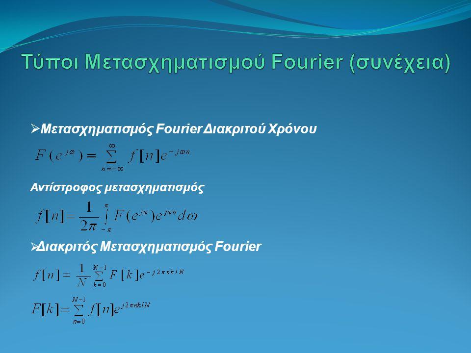 Τύποι Μετασχηματισμού Fourier (συνέχεια)