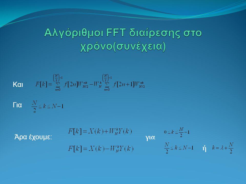 Αλγόριθμοι FFT διαίρεσης στο χρόνο(συνέχεια)