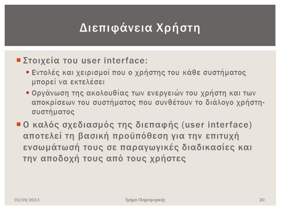Διεπιφάνεια Χρήστη Στοιχεία του user interface: